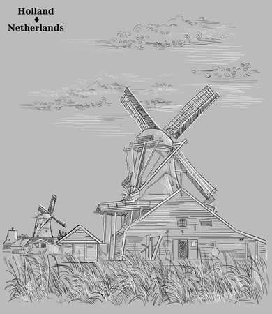 Vector hand drawing illustration of watermills in Holland, Netherlands. Watermills on the meadow. Vector sketch hand drawing illustration in black and white colors isolated on grey background.