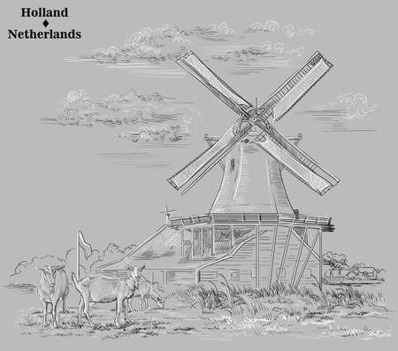 Vector hand drawing illustration of watermills in Holland, Netherlands. Watermill and goats grazing on the meadow. Vector sketch hand drawing illustration in black and white colors isolated on grey ba