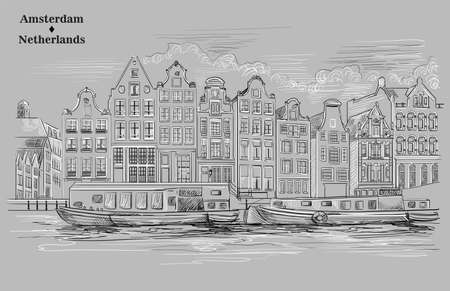 View on canals, embankment, houses and boats in Amsterdam, Netherlands. Landmark of Netherlands. Vector hand drawing illustration in black and white colors isolated on grey background.