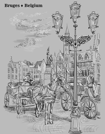 Ver en la plaza Grote Markt con caballos, carruajes y linternas en la ciudad medieval de Brujas, Bélgica. Vector ilustración de dibujo a mano en colores blanco y negro aislado sobre fondo gris.