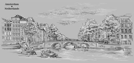 Bridge over the canals of Amsterdam, Netherlands. Landmark of Netherlands. Vector hand drawing illustration in black and white colors isolated on grey background. Иллюстрация