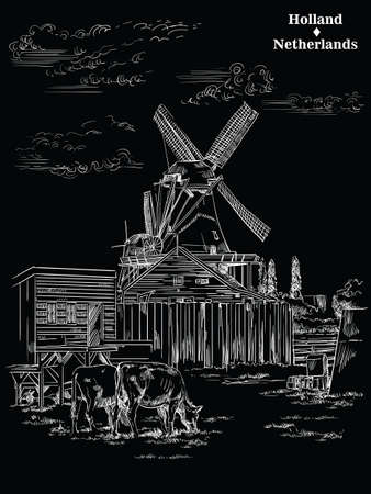 Vector hand drawing Illustration of Landmark watermill in Amsterdam (Netherlands, Holland). Watermill and cows grazing on the meadow. Vector engraving illustration in white color isolated on black bac