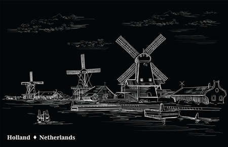 Vector hand drawing Illustration of watermill in Amsterdam (Netherlands, Holland). Landmark of Holland. Vector engraving illustration in white color isolated on black background.