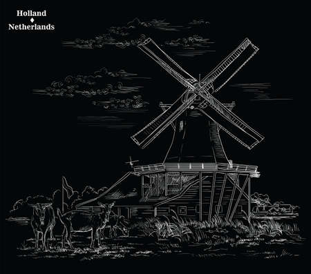 Vector hand drawing Illustration of Landmark watermill in Amsterdam (Netherlands, Holland). Watermill and goats grazing on the meadow. Vector engraving illustration in white color isolated on black background. Illustration