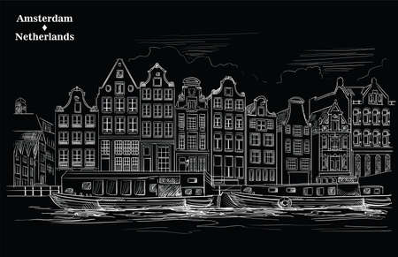 Houses on riverbank. Canal of Amsterdam, Netherlands. Landmark of Netherlands. Vector engraving illustration in white color isolated on black background.