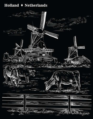 Vector hand drawing Illustration of Landmark watermill in Amsterdam (Netherlands, Holland). Watermill and cows grazing on the meadow. Vector engraving illustration in white color isolated on black background.