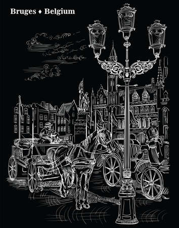 View on Landmark Grote Markt square in medieval city Bruges, Belgium. Horses, carriages and lanterns on market square in Bruges. Vector engraving hand drawing illustration in white color isolated on black background.