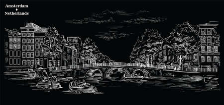 Bridge over the canals of Amsterdam, Netherlands. Landmark of Netherlands. Vector engraving illustration in white color isolated on black background. Иллюстрация