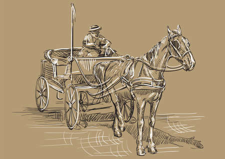 Vector hand drawing Illustration horse-drawn carriage with coachman. Monochrome vector hand drawing sketch illustration in black and white colors isolated on beige background. Ilustração