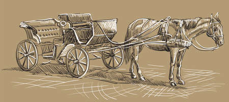Vector hand drawing Illustration horse-drawn carriage. Monochrome vector hand drawing sketch illustration in black and white colors isolated on beige background.