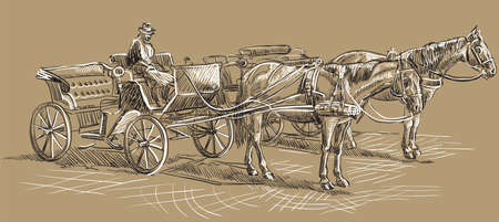 Vector hand drawing Illustration horse-drawn carriages with coachman. Monochrome vector hand drawing sketch illustration in black and white colors isolated on beige background.
