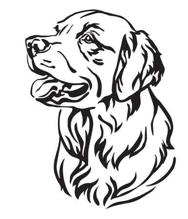 Retrato de contorno decorativo de perro Golden Retriever mirando de perfil, ilustración vectorial en color negro aislado sobre fondo blanco. Imagen para diseño y tatuaje.