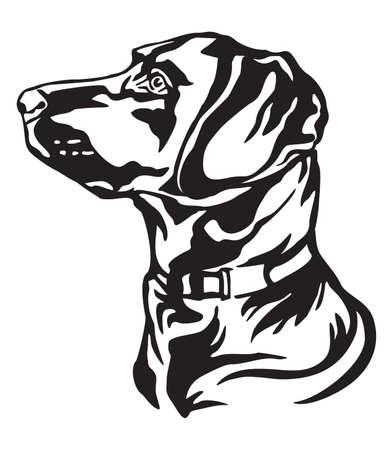 Portrait de contour décoratif du chien Labrador Retriever à la recherche de profil, illustration vectorielle en couleur noire isolée sur fond blanc. Image pour la conception et le tatouage. Vecteurs