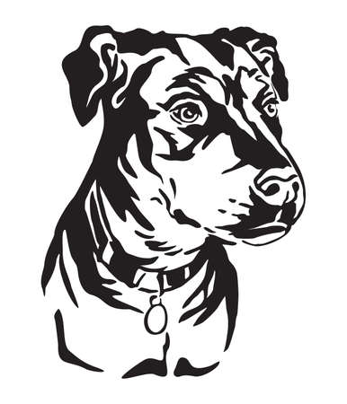 Decorative outline portrait of Mongrel Dog looking in profile, vector illustration in black color isolated on white background. Image for design and tattoo.