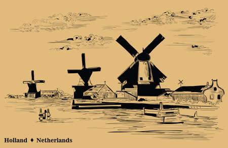 Vector hand drawing Illustration of watermill in Amsterdam (Netherlands, Holland). Landmark of Holland. Vector engraving illustration in black color isolated on beige background.