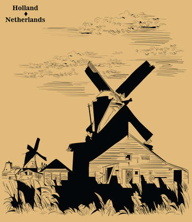 Vector hand drawing Illustration of Landmark watermill in Amsterdam (Netherlands, Holland). Watermill on the meadow. Vector engraving illustration in black color isolated on beige background.