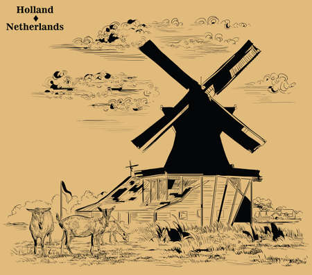 Vector hand drawing Illustration of Landmark watermill in Amsterdam (Netherlands, Holland). Watermill and goats grazing on the meadow. Vector engraving illustration in black color isolated on beige background.