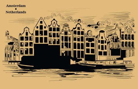 Houses on riverbank. Canal of Amsterdam, Netherlands. Landmark of Netherlands. Vector engraving illustration black color isolated on beige background.