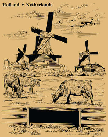 Vector hand drawing Illustration of Landmark watermill in Amsterdam (Netherlands, Holland). Watermill and cows grazing on the meadow. Vector engraving illustration in black color isolated on beige background.
