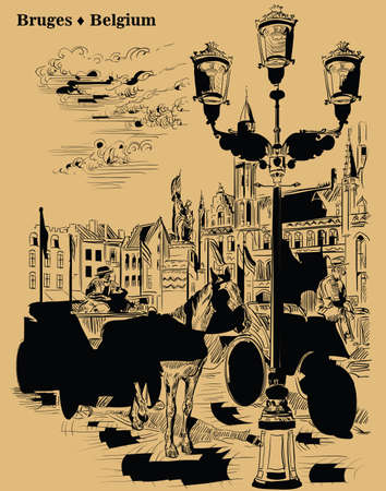 View on Landmark Grote Markt square in medieval city Bruges, Belgium. Horses, carriages and lanterns on market square in Bruges. Vector engraving illustration in black color isolated on beige background.