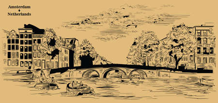 Bridge over the canals of Amsterdam, Netherlands. Landmark of Netherlands. Vector engraving illustration in black color isolated on beige background.