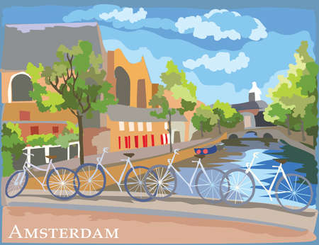 Cityscape with bicycles on bridge over the canals of Amsterdam, Netherlands. International landmark of Netherlands. Colorful vector illustration.