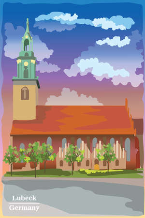 Landscape with facade of Church of St. Mary in Berlin in Lubeck, Germany. Landmark of Berlin. Colorful vector illustration.