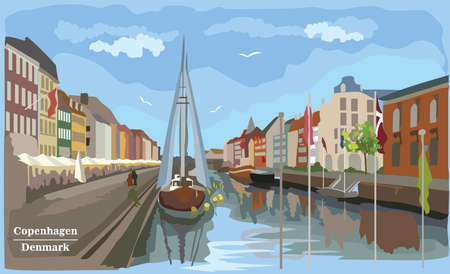 Cityscape pier in Copenhagen, Denmark. International landmark of Denmark. Colorful vector illustration.