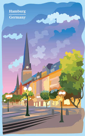 Cityscape with view of Hauptkirche St. Peters Church in Hamburg, Germany. International landmark of Hamburg. Colorful vector illustration.