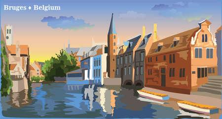 Stadtbildansicht auf Rozenhoedkaai-Wasserkanal in Brügge, Belgien. Internationales Wahrzeichen von Belgien. Bunte Vektorillustration.