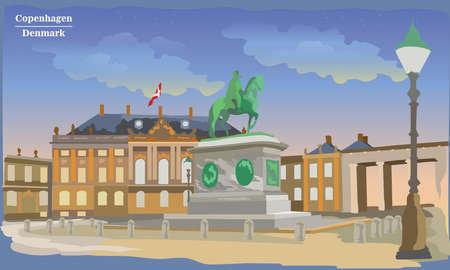 Stadtbild mit Amalienborg-Platz in Kopenhagen, Dänemark. Internationales Wahrzeichen Dänemarks. Bunte Vektorillustration. Vektorgrafik