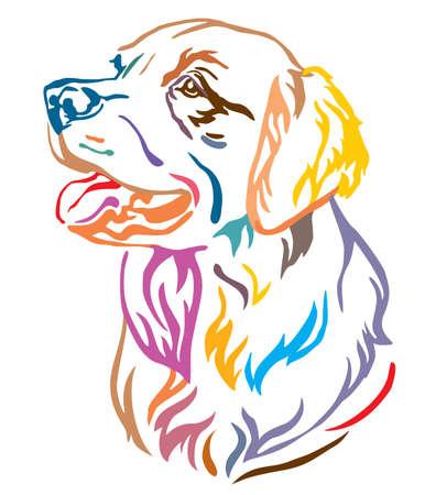 Retrato de contorno decorativo colorido de perro Golden Retriever mirando de perfil, ilustración vectorial en diferentes colores aislado sobre fondo blanco. Imagen para diseño y tatuaje.