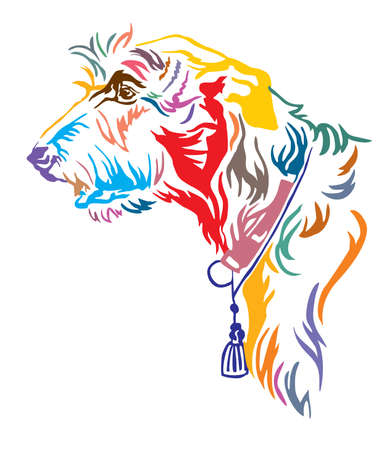Colorful decorative outline portrait of Irish Wolfhound Dog looking in profile, vector illustration in different colors isolated on white background. Image for design and tattoo. Illustration
