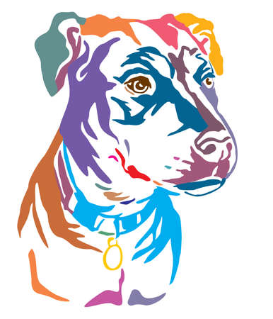 Colorful decorative outline portrait of Mongrel Dog looking in profile, vector illustration in different colors isolated on white background. Image for design and tattoo. Illustration