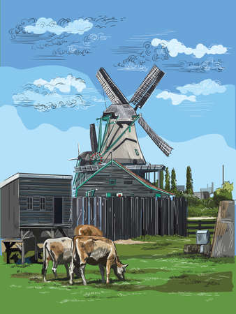 Vector hand drawing Illustration of watermill in Amsterdam (Netherlands, Holland). Landmark of Holland. Watermill and cows grazing on the meadow.Colorful vector engraving illustration. Illustration