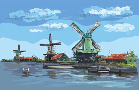 Vector hand drawing Illustration of watermill in Amsterdam (Netherlands, Holland). Landmark of Holland. Watermills on the embankment.Colorful vector engraving illustration. Illustration