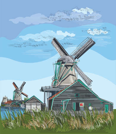 Vector hand drawing Illustration of watermill in Amsterdam (Netherlands, Holland). Landmark of Holland. Watermill on the meadow.Colorful vector engraving illustration.