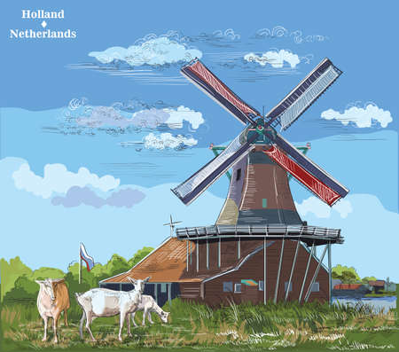 Vector hand drawing Illustration of watermill in Amsterdam (Netherlands, Holland). Landmark of Holland. Watermill and goats grazing on the meadow.Colorful vector engraving illustration.