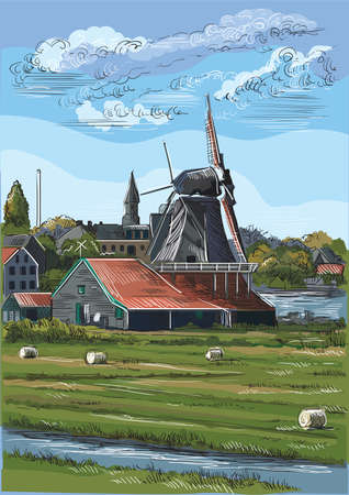 Vector hand drawing Illustration of watermill in Amsterdam (Netherlands, Holland). Landmark of Holland. Watermills on the meadow.Colorful vector engraving illustration.
