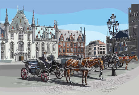 View on Grote Markt square in medieval city Bruges, Belgium. Landmark of Belgium. Horses, carriages and lanterns on market square in Bruges. Colorful vector engraving illustration. Ilustracja