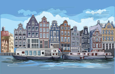 Cityscape with houses on riverbank. Canal of Amsterdam, Netherlands. Landmark of Netherlands.Colorful vector engraving illustration.