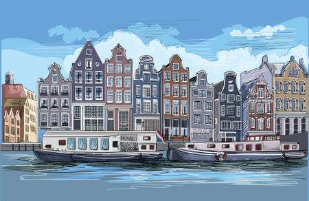 Cityscape with houses on riverbank. Canal of Amsterdam, Netherlands. Landmark of Netherlands.Colorful vector engraving illustration. Reklamní fotografie - 124943335