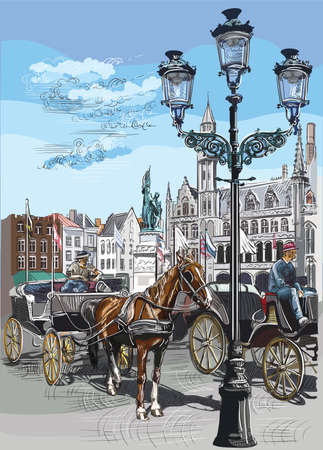 View on Grote Markt square in medieval city Bruges, Belgium. Landmark of Belgium. Horses, carriages and lanterns on market square in Bruges. Colorful vector engraving illustration. Illustration