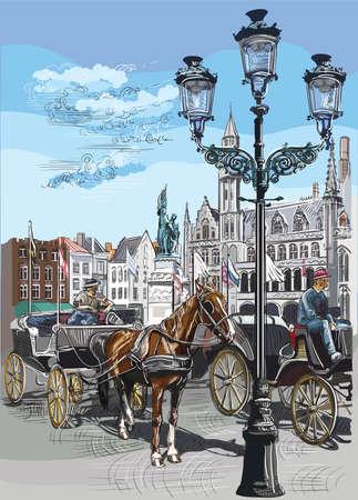 View on Grote Markt square in medieval city Bruges, Belgium. Landmark of Belgium. Horses, carriages and lanterns on market square in Bruges. Colorful vector engraving illustration. Reklamní fotografie - 124943337