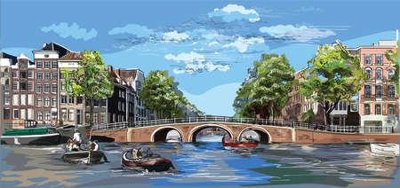 Stadtbild mit Brücke über die Kanäle von Amsterdam, Niederlande. Wahrzeichen der Niederlande. Bunte Vektor-Gravur-Illustration.