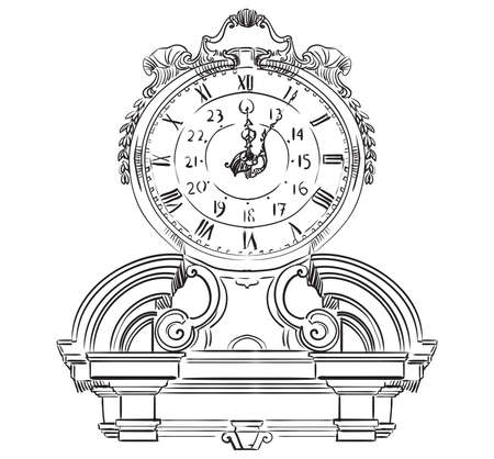 Ancient carving baroque clock, vector hand drawing illustration in black color isolated on white background Stock Vector - 124839205