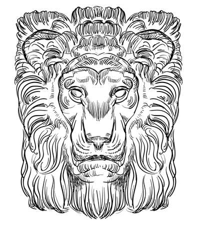 Ancient stone bas-relief in the shape of a lion head, vector hand drawing illustration in black color isolated on white background.