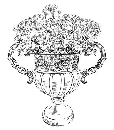 Ancient carving street vase with flowers vector hand drawing illustration in black color isolated on white background