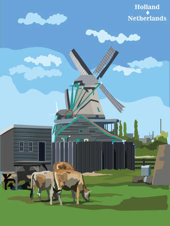 Vector colorful Illustration of watermill in Amsterdam (Netherlands, Holland). Landmark of Holland. Watermill and cows grazing on the meadow.Colorful vector illustration. Illusztráció