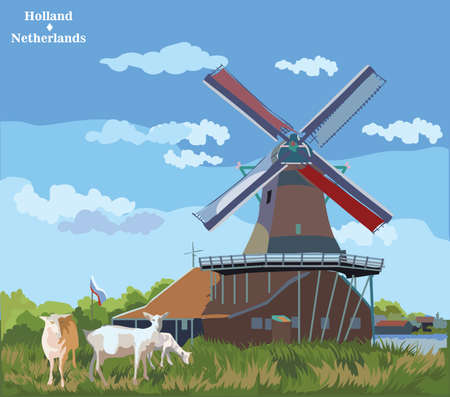 Vector colorful Illustration of watermill in Amsterdam (Netherlands, Holland). Landmark of Holland. Watermill and goats grazing on the meadow.Colorful vector illustration.